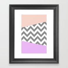 gray, purple, and coral chevron Framed Art Print