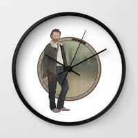 rick grimes Wall Clocks featuring Rick Grimes by Pikeymin
