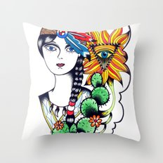 Cactus Eye Tattoo Style Throw Pillow
