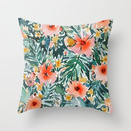 TROPICAL SNEEZE Watercolor Floral Throw Pillow