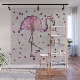 Glamorous Flamingo pink and rose gold sparkle Wall Mural