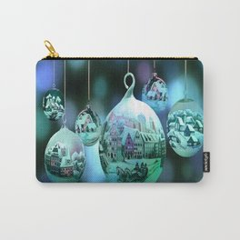 Christmas Bulbs in Blue Carry-All Pouch