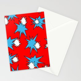 Stars (Blue & White on Red) Stationery Cards