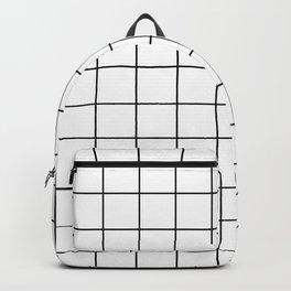 Modern Windowpane White Line Minimal Grid Home Decor Backpack