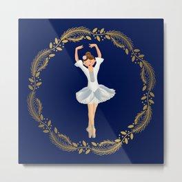 The Nutcracker Christmas Special - Nutcracker Scene - Ballerina dance in Golden Christmas Wreath (Royal Blue) Metal Print