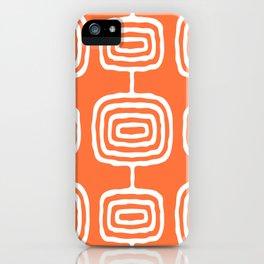 Mid Century Modern Atomic Rings Pattern 771 Orange iPhone Case