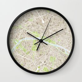 Paris SGB Watercolor Map Wall Clock