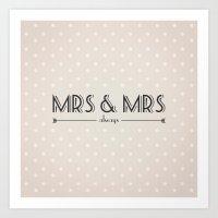 lesbian Art Prints featuring Mrs & Mrs (lesbian content) by Jane Mathieu