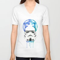 storm trooper V-neck T-shirts featuring Storm Trooper by Leigh Roundy