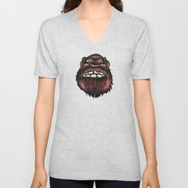 SCARY MONSTER BIGFOOT WITH THREE EYES Unisex V-Neck