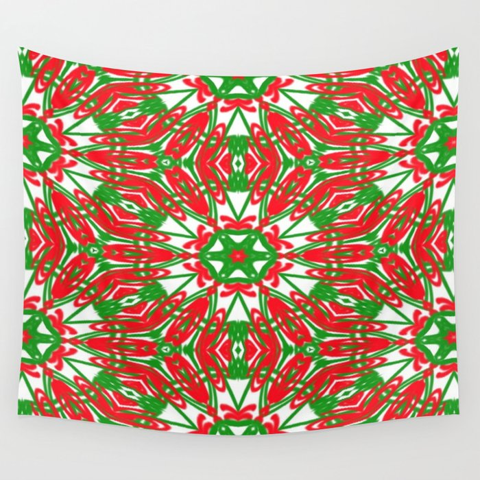 Red, Green and White Kaleidoscope 3376 Wall Tapestry