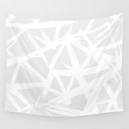 Modern white abstract geometric brushstrokes light grey Wall Tapestry