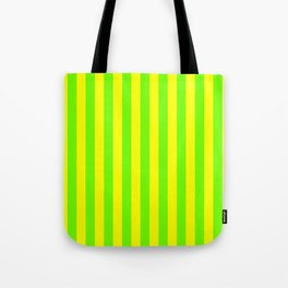 Super Bright Neon Yellow and Green Vertical Beach Hut Stripes Tote Bag