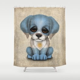 Cute Puppy Dog with flag of Argentina Shower Curtain