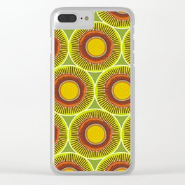 Green spirals and swirls Clear iPhone Case