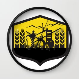 Tractor Harvesting Wheat Farm Crest Retro Wall Clock