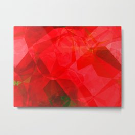 Mottled Red Poinsettia 1 Ephemeral Abstract Polygons 1 Metal Print