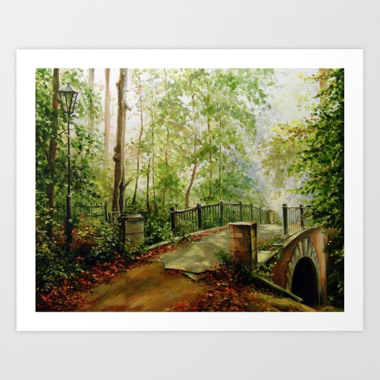 Old bridge in the forest Art Print