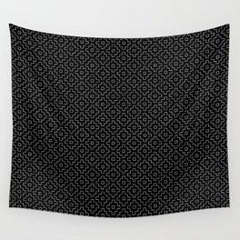 Persimmon Hitomezashi Sashiko - White on Black Wall Tapestry