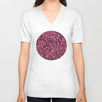 damask V-neck T-shirts featuring Damask Pattern 01 by Aloke Design