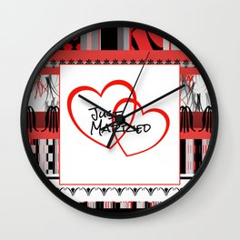 just Married Hearts white pattern I Wall Clock