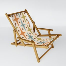 Mid Century Modern Abstract Star Pattern 441 Orange Brown Blue Olive Green Sling Chair
