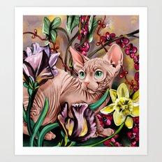 Sphynx cat in flower garden Art Print