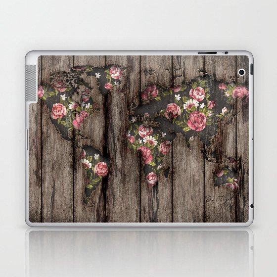 Wood Flowers Mapamundi Laptop & iPad Skin