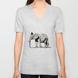 Elephant Wearing Tiny Top Hat Unisex V-Neck