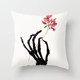 Skeleton Hand with Flower Throw Pillow