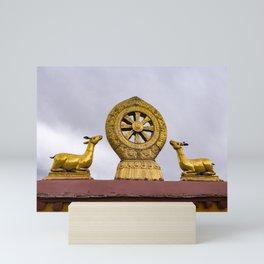 Tibet: Rooftop Dharma wheel Mini Art Print