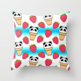 Cute funny sweet adorable little baby panda bear ice cream cones with sprinkles and red ripe summer strawberries cartoon bright white and blue pattern design Throw Pillow