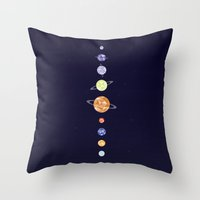 planets Throw Pillows featuring Planets by Dorothy Leigh