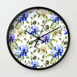 Irisis and lilies - flower pattern no3 Wall Clock