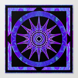 Starlit Purple Nights Abstract Mandala Artwork Canvas Print