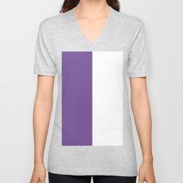 White and Dark Lavender Violet Vertical Halves Unisex V-Neck