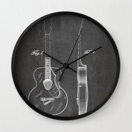 Accoustic Guitar Patent - Classical Guitar Art - Black Chalkboard Wall Clock