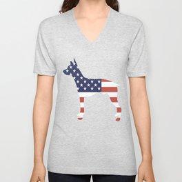American-Hairless-Terrier-tshirt,-patriotic-American-Hairless-Terrier Unisex V-Neck