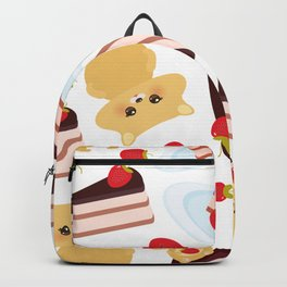 attern cute kawaii hamster with fresh Strawberry, cake decorated pink cream and chocolate Backpack