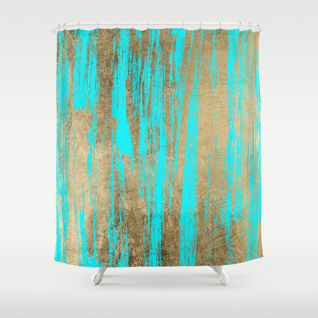 teal and gold shower curtain.  Pinkwater Shower Curtains Society6