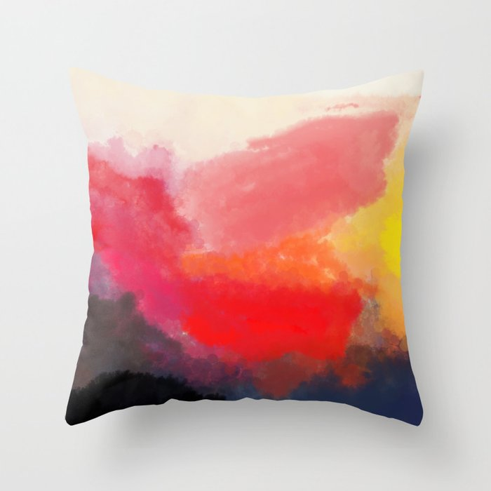 Red, Black and Yellow Mosaic Throw Pillow