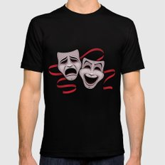 Comedy And Tragedy Theater Masks Mens Fitted Tee MEDIUM Black