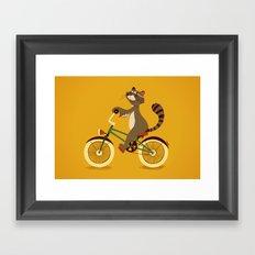 Raccoon on a bicycle Framed Art Print