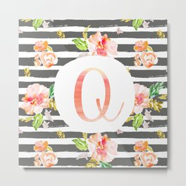 Q botanical monogram. Letter initial with colorful flowers and gray stripes Metal Print
