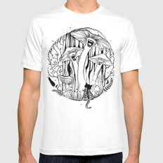The Singing Mushrooms & The Zebra Cat White Mens Fitted Tee MEDIUM