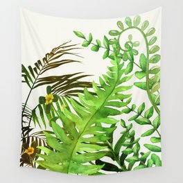 Watercolor Plants Wall Tapestry