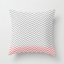 Grey, Coral and White Chevron Throw Pillow