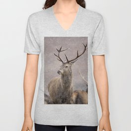 Christmas deer stag in the white snow winter forest Unisex V-Neck