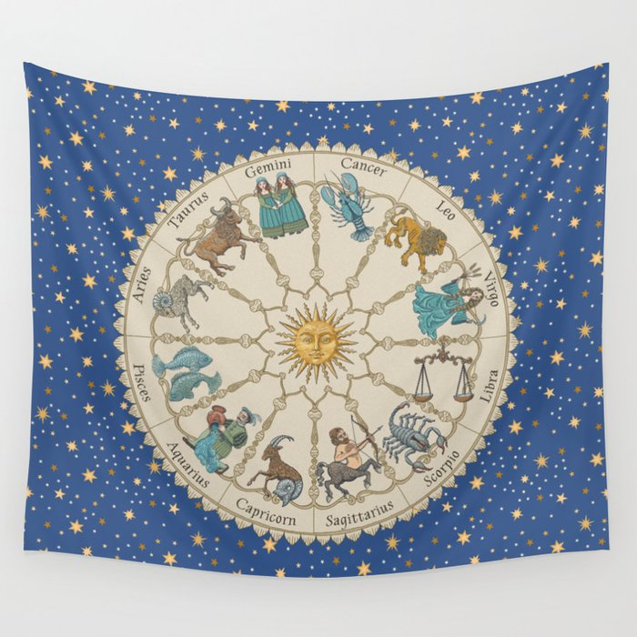 Vintage Astrology Zodiac Wheel Wall Tapestry