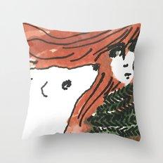 Windy, isn't it, bear? Throw Pillow